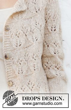 Birch woods jacket / DROPS - free knitting patterns by DROPS design Knit Cardigan Pattern, Jacket Pattern, Drops Design, Knitting Stitches, Knitting Patterns Free, Free Pattern, Knitting Machine, Lace Patterns, Crochet Patterns