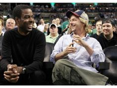 Chris Rock, David Spade and Nick Swadson enjoy the action in Game 5 of the Celtics-76ers series at TD Garden in Boston.