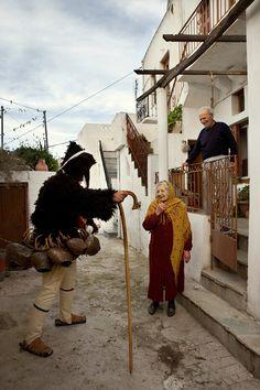 Dionysian goat dance festival of carnival.Processions of masked characters… Greek Dancing, Greek Traditional Dress, Zorba The Greek, Go Greek, In Ancient Times, Ancient Greek, Greek Islands, Beach Fun, Dance Costumes