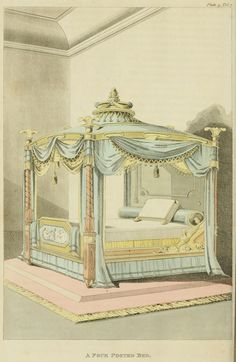 1812 - Bed created for the Marquis of Winchester less the family crest and other ornaments.                      EKDuncan - My Fanciful Muse: Regency Furniture 1809 -1815: Ackermann's Repository Series 1