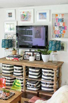 Ideas para decorar la pared de la televisión.