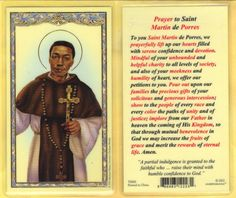 St Martin de Porres with - prayer to St Martin de Porres - Laminated  Holy Card
