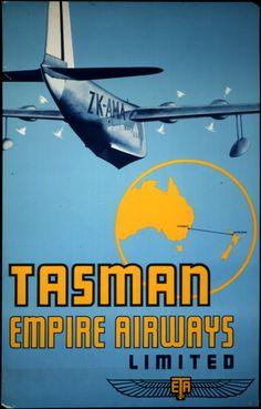 1940 - Hidroavión Short S 30 Empire vuela en la imagen esquemática de la ruta de Sydney a Auckland