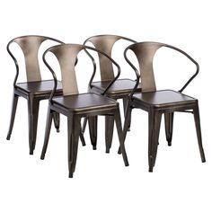 Vintage Tabouret Stacking Chairs (Set of 4), Brown (Metal)