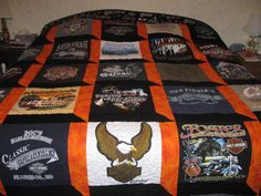 Harley Davidson Tshirt quilt Made to Order by GingerbreadQuilts ... : motorcycle quilt pattern - Adamdwight.com