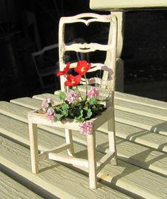 1:12 Shabby Chic bepflanzter Gartenstuhl von karin55 auf Etsy