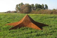 """Star Earth"". 2009.  Soil.  800x800x200 cm.  Park Dina, Israel."