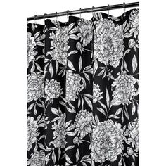 Watershed Peony Shower Curtain in Black / White | Wayfair