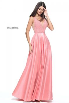2017 Cheap Plunged Neck Satin Beaded Coral Prom Dress By Sherri Hill 51182 Sherri Hill Prom Dresses, V Neck Prom Dresses, Beaded Prom Dress, Prom Dresses 2017, Cheap Prom Dresses, Beaded Top, Formal Dresses, Weeding Dresses, Dance Dresses