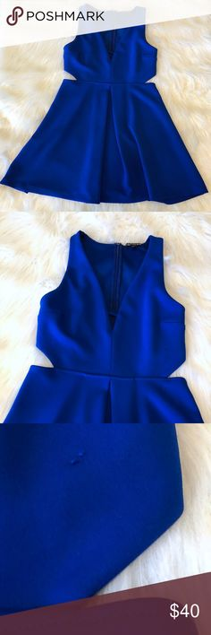 834044ae3bcf Express Sleeveless Plunging Cut Out Skater Dress Stunning royal blue fit &  flare skater dress.