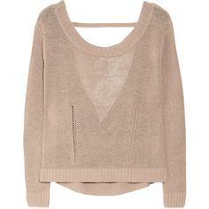 Inhabit Cutout linen-blend sweater (£130) ❤ liked on Polyvore featuring tops, sweaters, shirts, jumpers, open stitch sweater, linen blend shirt, loose fitting tops, loose tops and spaghetti-strap top