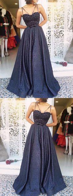 Sexy Prom Dresses Spaghetti Straps A-line Bowknot Long Beading Prom Dress M3403