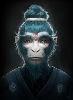 regram 'Blue Monkey' by Jean Michel Bihorel Monkey Art, Monkey King, Character Portraits, Character Art, Character Design, Alien Concept, Concept Art, Wild Animal Wallpaper, Conceptual Drawing