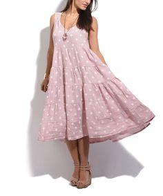 La Fille Du Couturier Rose Polka Dot Linen Dress - Women Plus Size US 16 c3dc46709