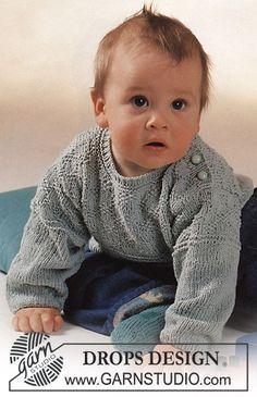DROPS Baby 2-12 - DROPS sæt i Safran med rude-struktur: bluse og sokker