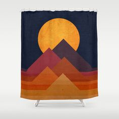 Full moon and pyramid Shower Curtain by Budi Satria Kwan - $68.00