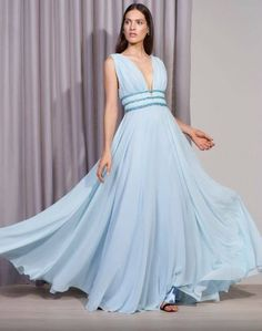 2589fad7c vestido de festa azul claro V Neck Prom Dresses