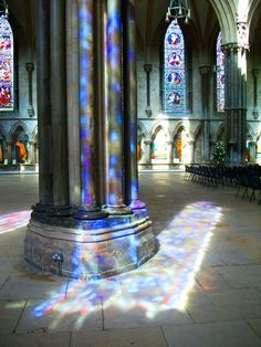 Sunlight through Lincoln Cathedral. Stained Glass Church, Stained Glass Angel, Stained Glass Windows, Wine Bottle Wall, Lincoln Cathedral, Glass Art Design, Glass Pumpkins, Glitch Art, Glass Wall Art