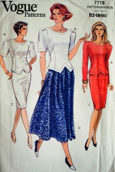 Uncut Vintage 1990s Vogue 7778 Misses Loose Fit Shoulder Puff Shaped Hemline Top & Tapered Waistband Skirt Size 12 14 16 Sewing Pattern