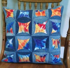Repurposed denim faux cathedral window pillow.