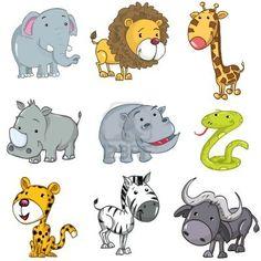 Set of cute cartoon animals. A rhino,lion,giraffe,elephant,hippo,snake,leopard,zebra and buffalo Stock Photo