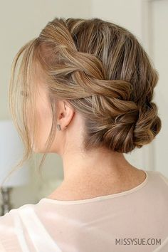 Double twist low bun # The Effective Pictures We Offer You About junior bridesmaid hair straight A q Easy Updos For Medium Hair, Short Hair Styles Easy, Short Hair Updo, Medium Hair Styles, Wedding Hair And Makeup, Bridal Hair, Hair Wedding, Wedding Dress, Bridesmaid Hair Updo