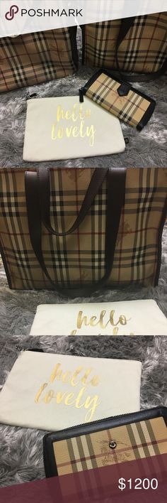 Burberry Collection Burberry Haymarket collection. Haymarket wallet,Haymarket check Canterbury Tote, and Haymarket Tote. Willing to split up this set. Send me your inquiries. Burberry Bags Totes