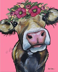 Cow art print from original canvas cow painting. Cow with Flower Crown, Farmhous… Cow art print from original canvas cow painting. Cow with Flower Crown, Farmhouse cow art, Cow on canvas art, Fine art or canvas cow print – Animal Paintings, Art Paintings, Paintings Of Cows, Cow Paintings On Canvas, Painting Canvas, Original Paintings, Animal Art Prints, Canvas Artwork, Original Art
