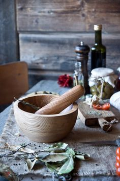 A handcrafted ash wood mortar from http://www.ilovenature.pl/. Lots of other great stuff, loving the DIY spirit!