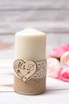 Wedding Candle / Hochzeitskerze   Please select a size :  1. small app. 13-15 cm / klein ci. 13-15cm 2. large app. 20-22cm / Gross ci. 20-22cm  The VIntage candle has a wooden heart with your own Initials and wedding date, decorated with 100% cotton lace. (Die Kerze ist handgraviert mit Initialen und Hochzeitsdatum ,dekoriert mit Spitze)   ***************  Back to my shop: https://www.etsy.com/shop/HappyWeddingArt  **********  More guest books…