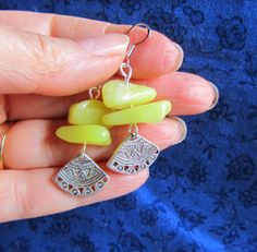 20% off Citrine Chunks & Silver finding earrings by Scentedlingerie, $12.00