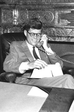 Senator John F. Kennedy photographed in his Senate office, 1953-1960. ❤❁❤❁❤❁❤❁❤❁❤ http://en.wikipedia.org/wiki/John_F._Kennedy