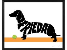 Personalized Dachshund Print, Smooth or Wirehaired Dachshund Decor, Framed Dog Silhouette Name Art Dachshund Art, Wire Haired Dachshund, Dachshund Gifts, Top Dog Names, Dog Silhouette, Name Art, Dog Runs, Dog Memorial, Dog Art