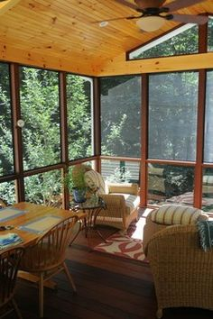 Three Seasons Room Design Ideas - like the idea of a solid wood table, with sturdy chairs my 3 year old can't destroy