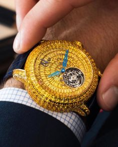 For the Dazzling Occassion The very impressive Caviar Tourbillon. 418 invisibly set Yellow Sapphires adorn this crazy piece For the Dazzling Occassion The very impressive Caviar To Vintage Watches For Men, Luxury Watches For Men, Patek Philippe, Cool Watches, Rolex Watches, Cartier, Hand Watch, Expensive Watches, Automatic Watch