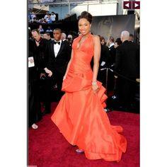 Jennifer Hudson Deep-V A-Line Sweep Train Halter Taffeta Oscar Dress