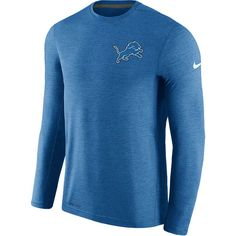 Men's Nike Blue Detroit Lions Sideline Coaches Long Sleeve Performance T-Shirt
