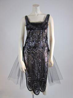 Vintage 1920's flapper dress, all original sequin tulle overdress.