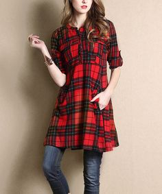 Another great find on #zulily! Red Glen Plaid Notch Neck Roll-Tab Pocket Tunic #zulilyfinds