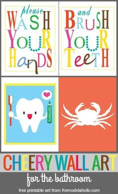 Bright and Cheery Bathroom Art - Please wash your hands and brush your teeth! Plus a cute tooth print and a crab silhouette for easy - Bathroom Rules, Bathroom Kids, Kid Bathrooms, Brown Bathroom, Simple Wall Art, Easy Wall, Birthday Wall Decoration, Kids Bathroom Organization, Cute Tooth
