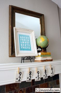 52 Mantels: Back to School Mantel with link to free ABC printable