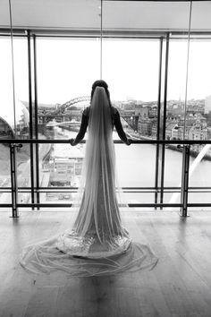 Bride. Wedding. Gold Dress. Cathedral Veil. Black and white photography. Newcastle wedding. Tyne bridge. Baltic Flour Mill. Gateshead