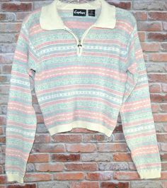 Vintage 80s Sweater Medium Pastels Heart Zipper  Hipster