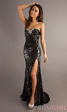 Long black strapless sequin dress