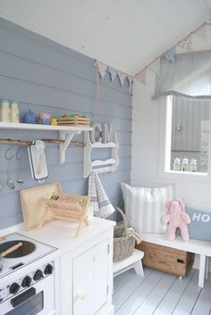 Summertime Project – Build a Playhouse for Your Kids Playhouse Decor, Playhouse Interior, Girls Playhouse, Backyard Playhouse, Build A Playhouse, Playhouse Ideas, Childrens Outdoor Playhouse, Inside Playhouse, Kids Cubby Houses