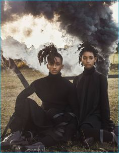 Willow and Jaden Smith photographed in black fashions from Rick Owens.