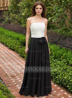 Dama de honor - $99.99 - Corte A/Princesa Estrapless Vestido Gasa Dama de honor con Volantes (007027455) http://jjshouse.com/es/Corte-A-Princesa-Estrapless-Vestido-Gasa-Dama-De-Honor-Con-Volantes-007027455-g27455?ver=1