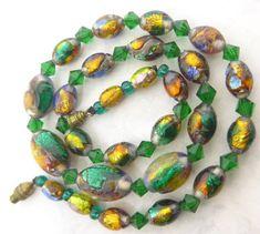 VINTAGE VENETIAN ART DECO OPALESCENT BI COLOUR FOIL GLASS BEAD NECKLACE | Jewellery & Watches, Vintage & Antique Jewellery, Vintage Costume Jewellery | eBay!