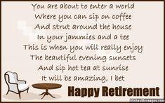 Retirement poems for colleagues: Happy retirement poems for co-workers Funny Retirement Poems, Retirement Wishes For Coworker, Retirement Quotes Inspirational, Teacher Retirement, Retirement Cards, Retirement Celebration, Retirement Ideas, Retirement Parties, Nurse Poems