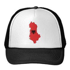 Albania - map and flag - hat - kapele - Shqiperia - harta e Shqiperise dhe shqiponja e flamurit